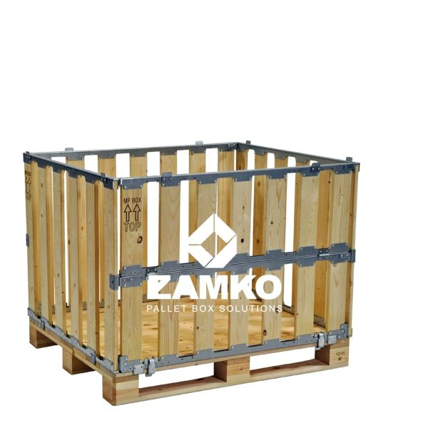 Transport container with folding window