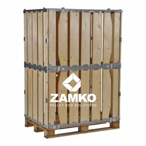 Collapsible pallet box, double hight 140cm, with wide boards-min