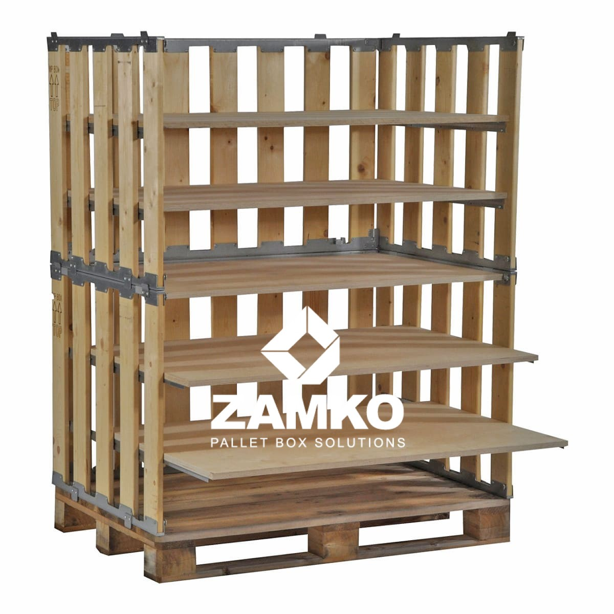 Pallet Box 8 Detachable Walls 800mm 800mm High With Shelves