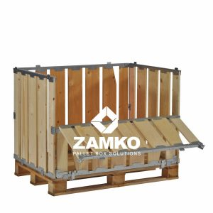 Pallet cage with folding window