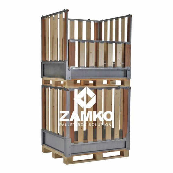 Pallet container -collapsible walls