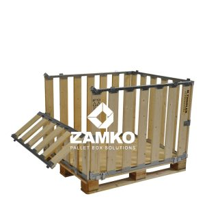 Pallet cages with folding window on short side
