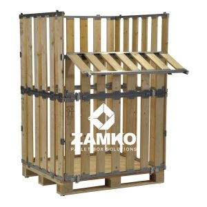 Collapsible pallet containers with folding window