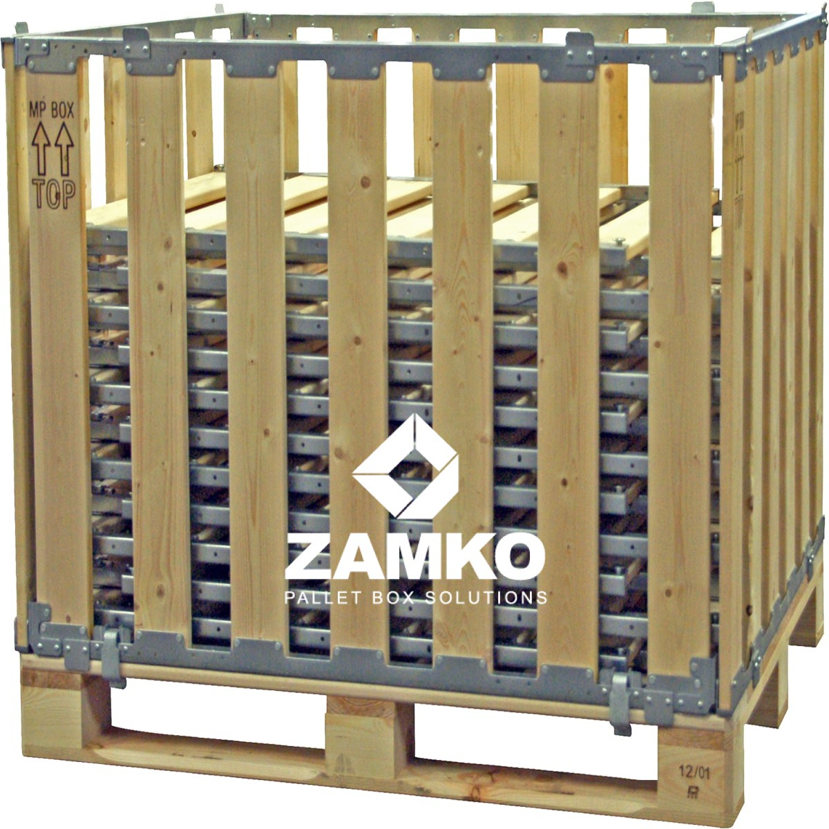 Pallet Box 8 Detachable Walls 700mm 700mm High With Shelves